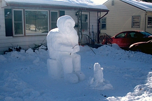 2014 Community Snow Sculpting winner, Scott Steele of Rockford, Illinois